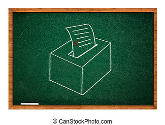 Election ballot - Drawing of election ballot on a green...