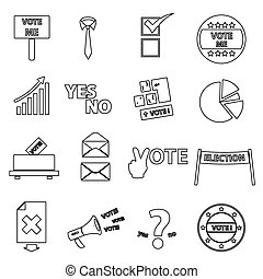 election black simple outline icons set eps10