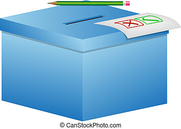 Election box - ballot box with pencil and a sheet of paper ...