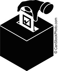 Election box icon, simple style