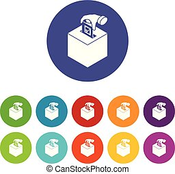 Election box icons set vector color