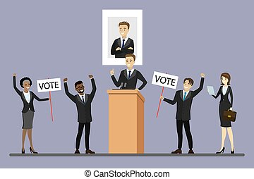 Election campaign of candidate, Male politician standing at tribune,