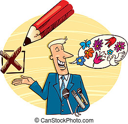 Election Campaign Speech - Illustration of candidate giving...