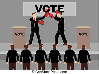 Election Candidate Fighting on Stage Cartoon Vector Illustration