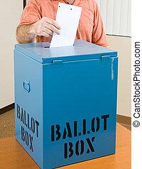Election - Casting Ballot - Closeup of a man\\\'s hand...