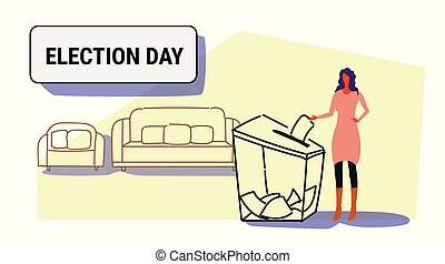 election day concept businesswoman voter putting paper ballot list in box during voting casual woman female character full length sketch doodle horizontal