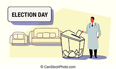 election day concept doctor voter putting paper ballot list in box during voting medical worker physician in white coat full length sketch doodle horizontal