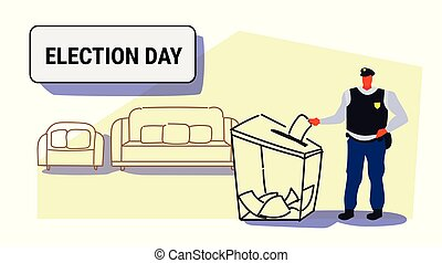 election day concept policeman voter putting paper ballot list in box during voting police officer in uniform full length sketch doodle horizontal