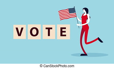 election day democratic animation with female voter and usa flag ,4k video animated
