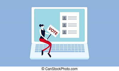 election day democratic animation with female voter with banner in laptop ,4k video animated