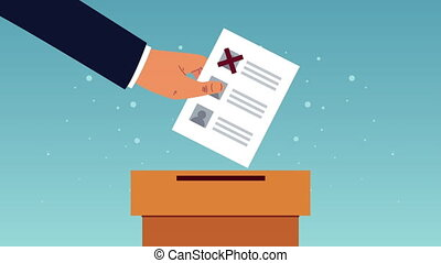 election day democratic animation with hand inserting voting card in urn ,4k video animated