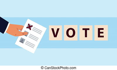election day democratic animation with hand lifting voting card ,4k video animated