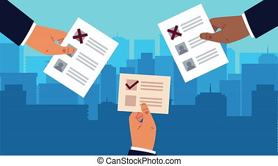 election day democratic animation with hands lifting voting cards ,4k video animated