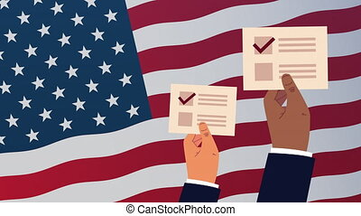 election day democratic animation with hands lifting voting cards in usa flag ,4k video animated