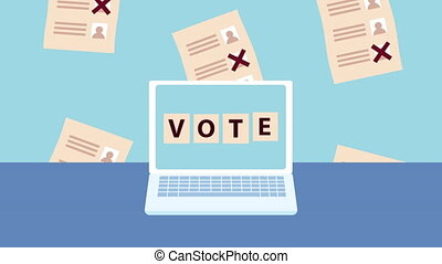 election day democratic animation with laptop and voting cards pattern ,4k video animated