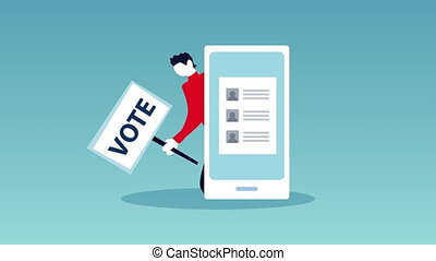 election day democratic animation with male voter in smartphone ,4k video animated
