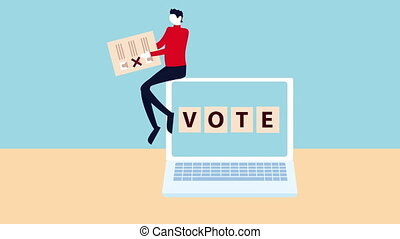 election day democratic animation with man lifting voting card in laptop ,4k video animated