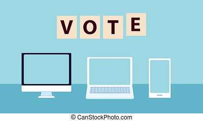 election day democratic animation with vote online with electronic devices ,4k video animated
