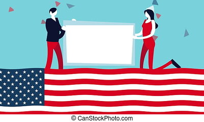 election day democratic animation with voters couple lifting banner in usa flag ,4k video animated
