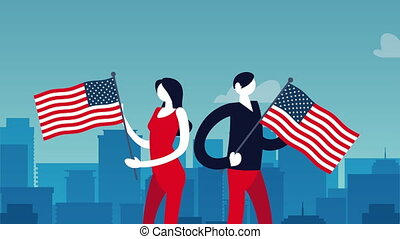 election day democratic animation with voters couple lifting usa flags ,4k video animated
