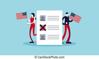 election day democratic animation with voters couple lifting usa flags and voting card ,4k video animated