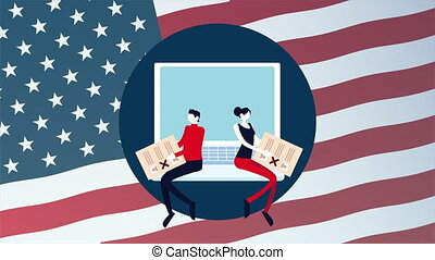 election day democratic animation with voters couple lifting voting cards in laptop ,4k video animated