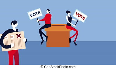election day democratic animation with voters couple seated in voting box ,4k video animated