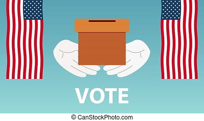 election day democratic animation with voting box and usa flags ,4k video animated