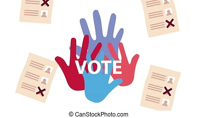 election day democratic animation with voting cards and hands print ,4k video animated