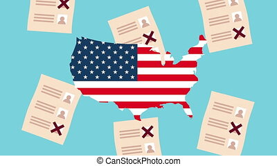 election day democratic animation with voting cards and usa flag in map ,4k video animated