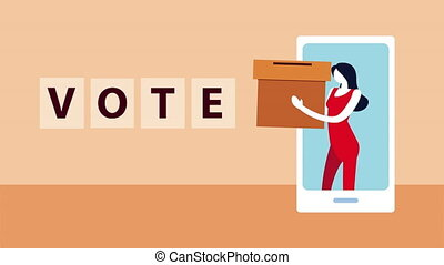 election day democratic animation with woman lifting voting box in smartphone ,4k video animated