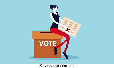 election day democratic animation with woman lifting voting card and urn ,4k video animated