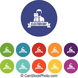 Election day icons set vector color