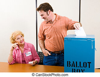 Election Day in USA - Male suburban voter casting his ballot...