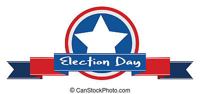 Election day ribbon banner vector