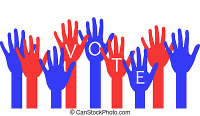 Election day - red and blue hands being counted as voters on...