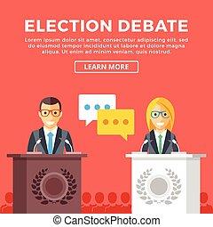 Election debate. Candidates talking