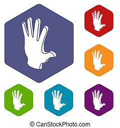 Election greeting hand icons hexahedron