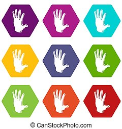 Election greeting hand icons set 9