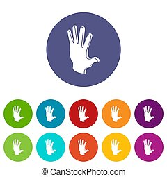 Election greeting hand icons set color