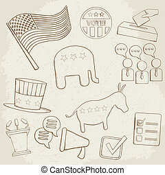 Election hand drawn vector icons