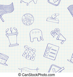 Election hand drawn vector seamless pattern