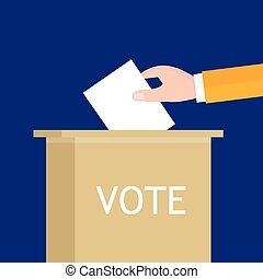 election hand holding ballot paper into box presidential...