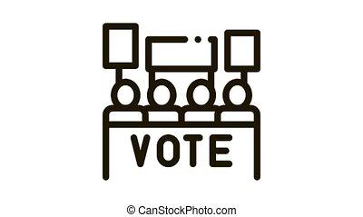 Election Icon Animation. black Election animated icon on white background