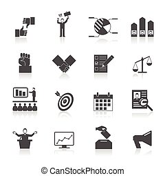 Election Icons Set - Politic icons set with election symbol...