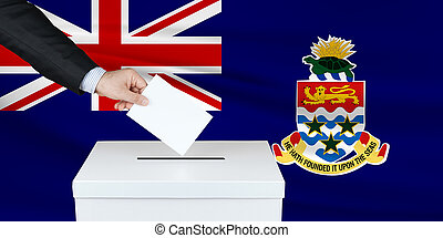 Election in Cayman Islands. Waved Cayman Islands flag on background.