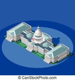 Election Infographic Capitol Dome Vector Isometric Building...