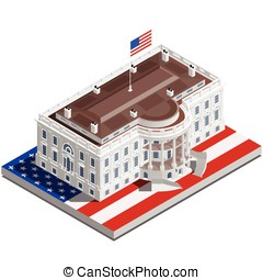 Election Infographic Usa White House Vector Isometric...