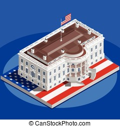 Election Infographic White House Us Vector Isometric...