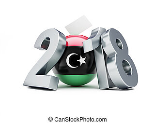 election Libya 2018 on a white background 3D illustration, 3D rendering